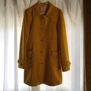 Anthropologie Stunning Mustard Wool Pea Coat ✨🌻